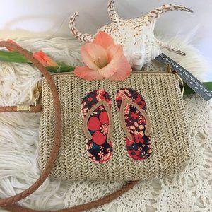 Sondra Roberts Floral Flip Flop Mini-Crossbody Bag